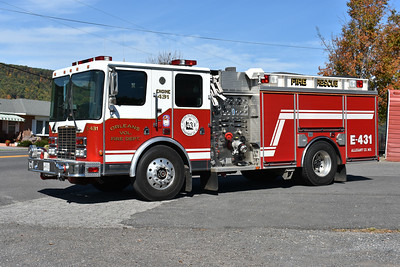 Engine 431 from Orleans, Maryland is this 1996 HME 1871-SFO/4-Guys with a 1250/1000 and s/n F1715.  It was originally delivered to Bittinger, Maryland in Garrett County.