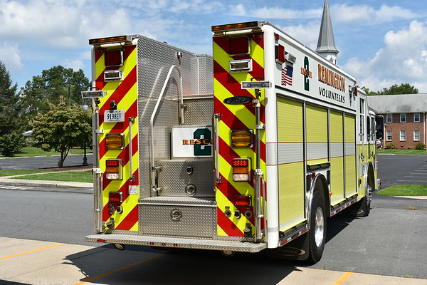 A rear view of Rescue 2 from Remington, VA - a 2001 Pierce Enforcer.