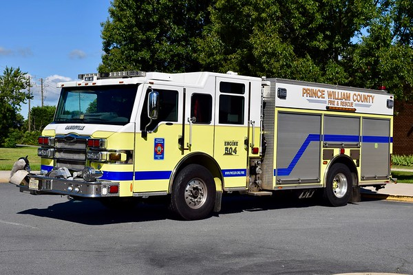 Utilized as a County reserve engine, Engine 504B is a 2008 Pierce Velocity PUC, 1500/750/40, sn- 20412-01.  ex- Gainesville District VFD, and ex- Engine 504.