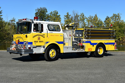 Engine 83 from Chesterfield County, Virginia and privately owned.  A 1974 Mack CF685F10 1000/500 and serial number 1625.  It was operated by the Matoaca Volunteers.  Photographed in September of 2017 at the ODHFS Farmville muster.
