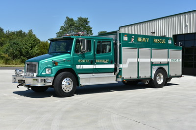 Squad 25 as photographed in July of 2017 at South Berkeley's new station.  Squad 25 is a 1994 Freightliner 80/American Eagle equipped with a 250/300.  It has an air cascade system as well as a light tower.