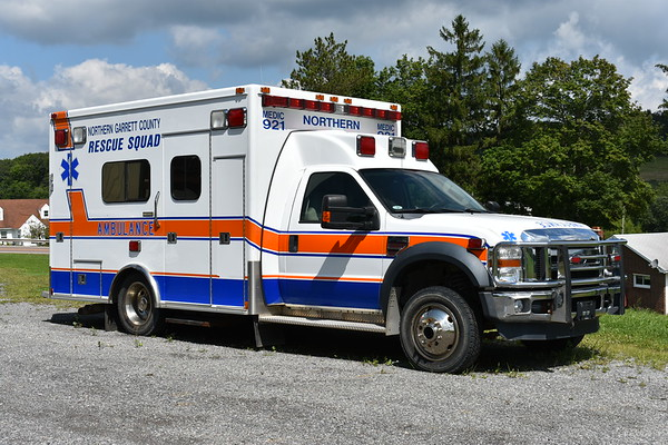 The Northern Garrett County Rescue squad - Grantsville, Maryland.  Medic 921 is a 2009 Ford F450 4x4/MedTech photographed in August of 2017.