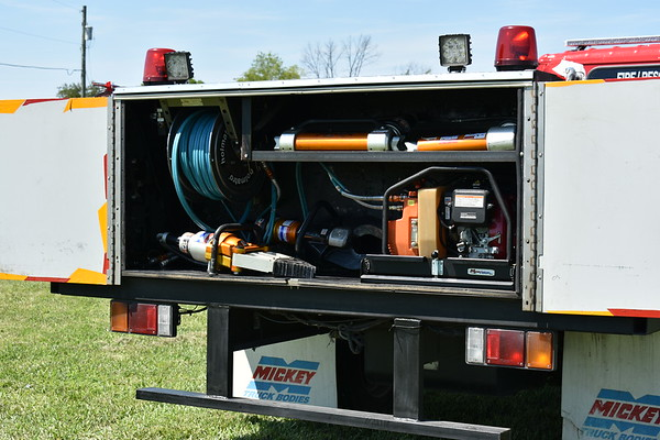 """The rear compartment showing extrication equipment used to protect the races on Summit Point.  This is """"7"""" - a 2004 GMC W4500 (Isuzu)."""