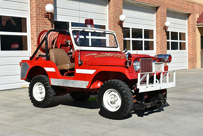Originally delivered to the Laytonsville, Maryland VFD in Montgomery County, this nice 1967 Jeep CJ-5 has been owned for many years by Urbana, MD VFD in Frederick County.  It is equipped with a 60/80.  Brush 236 is more of an antique/parade/ceremonial unit for the department.  Photographed in August of 2017.