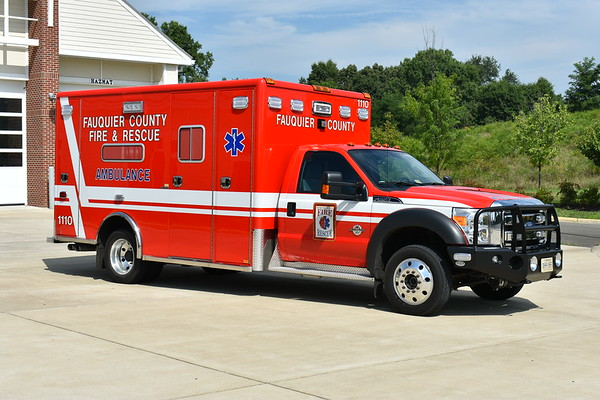 Officer side view of New Baltimore's (Fauquier County) Medic 1110, a 2016 Ford F550 4x4/Horton 603F model.