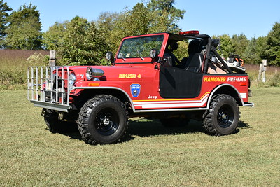 Hanover County, Virginia rehabbed several of their Brush units.  Brush 4 from Doswell is the 1980 Jeep CJ7 with a 2013 skid unit and rehab work completed in 2013.  It has a 50 gallon water tank and a small foam tank.