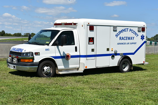 """""""893"""" is one of two 2008 Chevrolet/Crestline Coach ambulances that once served in Canada.  Serial number FM6987.  Received in 2016."""