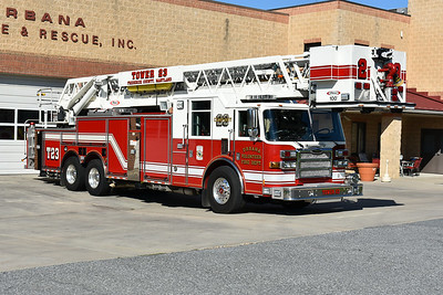 Urbana, Maryland in Frederick County - Tower 23.  A 2008 Pierce Dash 100' with job number 20267.