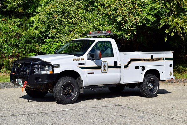 As far as utility trucks go, Utility 513 has a unique history.  The front end of Utility 513 is former Brush 518, a 2001 Ford F-350.  When the new B518 was delivered, the skid unit was transferred from the old brush truck to the new one.   This unit then received a new Reading utility body and was re-purposed as U513.