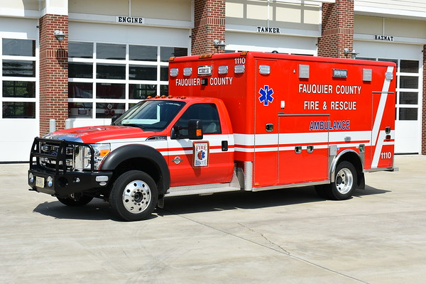 Fauquier County, Virginia purchased three identical 2016 Ford F550 4x4/Horton 603F models and assigned them to Warrenton (Station 1), Remington (Station 14), and as shown here, New Baltimore as 1110.