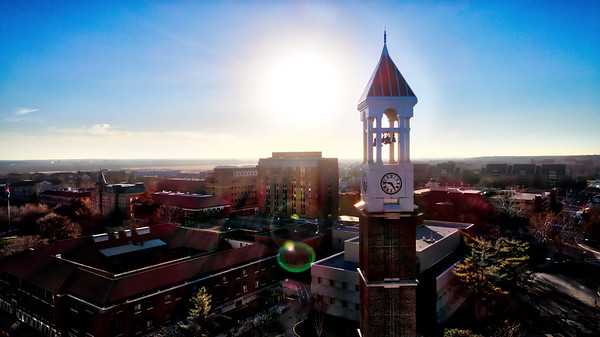 The Sun Sets Over the Purdue Bell Tower