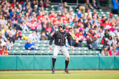 Adam Engel gets a lead off of third base as the Indianapolis Indians take on the Charlotte Knights at Victory Field on May 9, 2017. (Photo credit: Dave Wegiel/MiLB.com