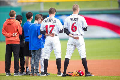 Phil Gosselin and Erich Weiss stand for the National Anthem prior to the Indianapolis Indians take on the Charlotte Knights at Victory Field on May 9, 2017. (Photo credit: Dave Wegiel/MiLB.com