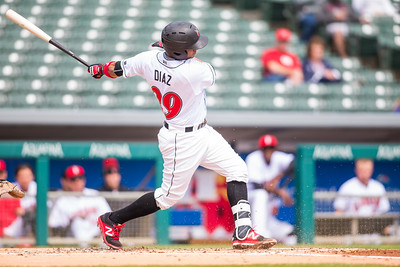 Elias Diaz bats as the Indianapolis Indians take on the Charlotte Knights at Victory Field on May 9, 2017. (Photo credit: Dave Wegiel/MiLB.com