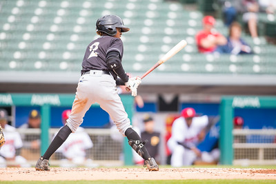 Jose Vinicio bats as the Indianapolis Indians take on the Charlotte Knights at Victory Field on May 9, 2017. (Photo credit: Dave Wegiel/MiLB.com