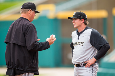 Carson Fulmer talks to pitching coach Andy Tomberlin as the Indianapolis Indians take on the Charlotte Knights at Victory Field on May 9, 2017. (Photo credit: Dave Wegiel/MiLB.com
