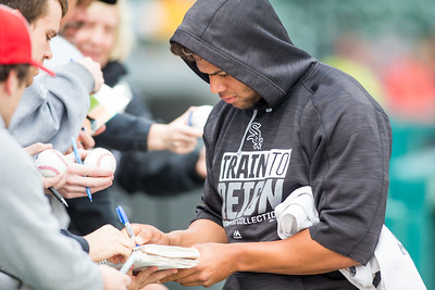 Yoan Moncoda signs autographs prior to the Indianapolis Indians take on the Charlotte Knights at Victory Field on May 9, 2017. (Photo credit: Dave Wegiel/MiLB.com