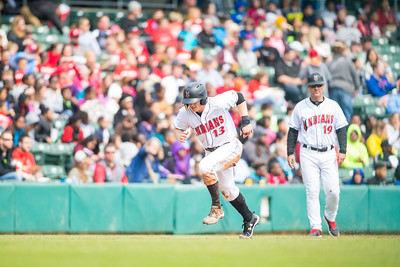 Austin Meadows scores from third as the Indianapolis Indians take on the Charlotte Knights at Victory Field on May 9, 2017. (Photo credit: Dave Wegiel/MiLB.com