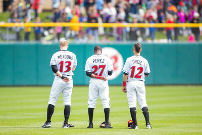 The Indianapolis Indianas outfield (Austin Meadows, Eury Perez, and Danny Ortiz) stand for the National Anthem prior to the Indianapolis Indians take on the Charlotte Knights at Victory Field on May 9, 2017. (Photo credit: Dave Wegiel/MiLB.com