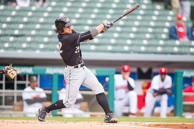 Kevan Smith bats as the Indianapolis Indians take on the Charlotte Knights at Victory Field on May 9, 2017. (Photo credit: Dave Wegiel/MiLB.com