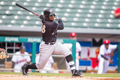 Rymer Liriano bats as the Indianapolis Indians take on the Charlotte Knights at Victory Field on May 9, 2017. (Photo credit: Dave Wegiel/MiLB.com