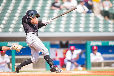 Jacob May batting (Dave Wegiel/MiLB.com)