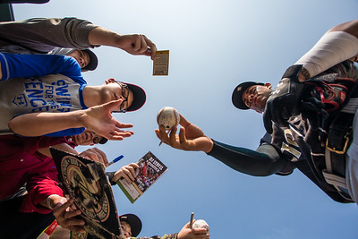 Yoan Moncada of the Charlotte Knights signs autographs for fans prior to a game against the Indinanapolis Indians on May 10, 2017 (Dave Wegiel/MiLB.com)