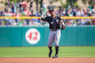 Yoan Moncada of the Charlotte Knights throws to 1st base during a game against the Indianapolis Indians on May 10, 2017 (Dave Wegiel/MiLB.com)