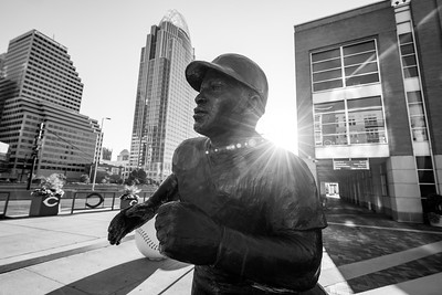 The Joe Morgan statue outside of Great American Ballpark home of the Cincinnati Reds