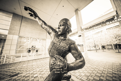 The Johnny Bench statue outside of Great American Ballpark home of the Cincinnati Reds