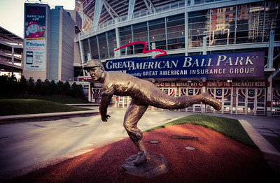The Joe Nuxhall statue outside of Great American Ballpark home of the Cincinnati Reds
