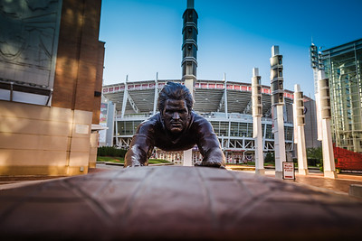 The Pete Rose statue outside of Great American Ballpark home of the Cincinnati Reds