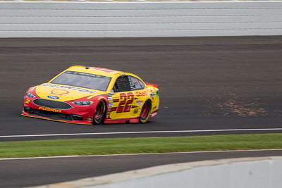 Joey Logono of Joe Gibbs Racing practices before the 2017 Brantley Big Machine Brickyard 400 (Dave Wegiel)