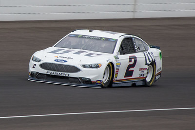 Brad Keselowski of Penske Racing practices before the 2017 Brantley Big Machine Brickyard 400 (Dave Wegiel)