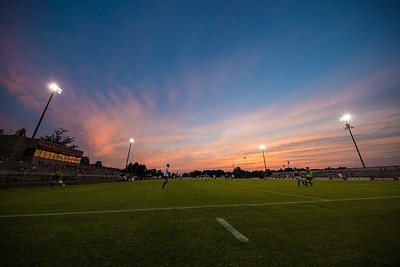 The sun sets over Bill Armstrong Stadium in Bloomington, Indiana as the Indiana University Hoosier soccer team takes on Xavier