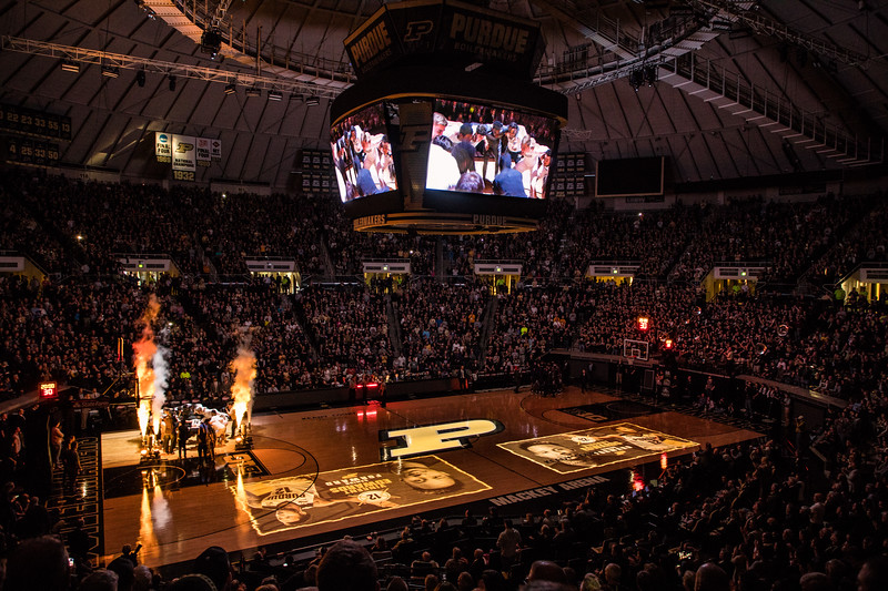 A special on court video is played to celebrate the 50th anniversary of Mackey Arena on December 3, 2017.