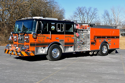 Wagon 1 of Winchester's Friendship Fire Company photographed in January of 2018 just after being placed into service after an extensive rehab by Seagrave in 2017.  Wagon 1 is a 1997 Seagrave TB50DA that was rehabbed in 2013 by Interstate (which included a front intake addition), and a 2017 Seagrave extensive rehab.  The 2017 work included paint, graphics, lights, interior work, new fuel tanks, cross lay piping, pump panel work, new ladder rack, new diamond plate in some areas, door repairs, and some other work.  Prior to the 2017 rehab, Wagon 1 was painted orange and white.  Equipped with a 1500/750 and Seagrave s/n 78863.