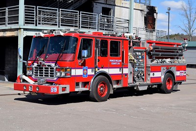 Engine 519 is a 2006 Ferrara Inferno, 1500/500/40/40, sn- H3295.  E519 was the first County built engine and was built loosely off of Dale City's 1973 Hahn engine.
