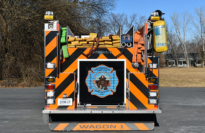 A rear view of Wagon 1, after the 2017 Seagrave rehab.