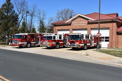 Group photo of Manassas Park's three Pierce engines.