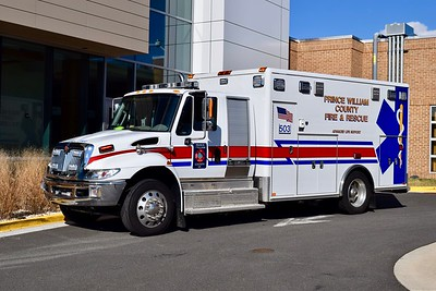 Medic 503B is a 2015 International/Horton, photographed after being re-lettered.  Former Dumfries-Triangle Rescue Squad.