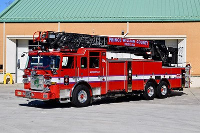 Truck 504 is this 2017 Pierce Arrow XT, 105', sn- 30687, that was photographed shortly before entering service.    This unit will run as Truck 524 until the completion of FS 22 (Groveton) in 2019, at that time Rescue 504 (Gainesville) will move to FS 22 and T524 will become T504.