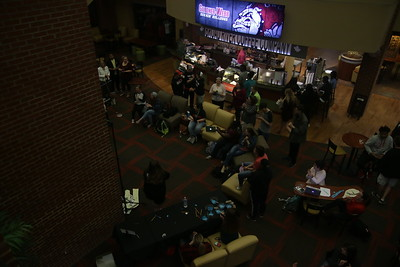 Students filled the bottom floor of the Tucker Student Center in support of their peer, Jen Guberman and her success in writing two books in her college career.