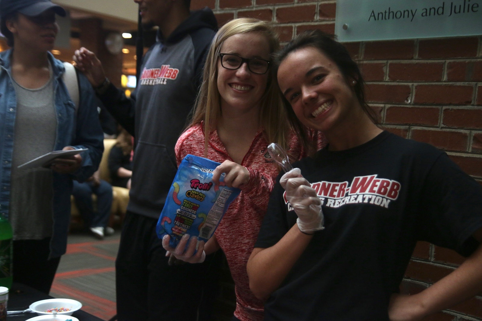 Seniors, Ashley Cable and Hope Saunders served pudding to the students who came to the party.