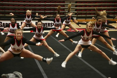 On Monday night at 6:30, the GWU Cheerleaders invited people out to come watch their final performance before they head to the NCA Collegiate Cheer Competition in Daytona, FL.