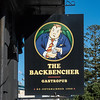 The Backbencher sign, Wellington, New Zealand