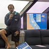 Marine biologist talk enroute to the Great Barrier Reef, Queensland, Australia