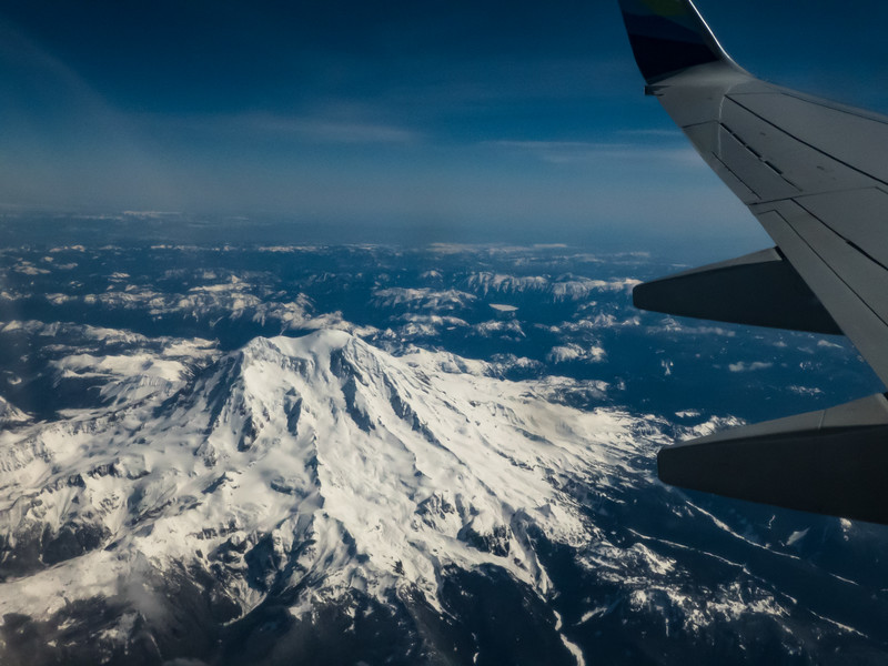 Mt St Helens from  the plane to Los Angeles