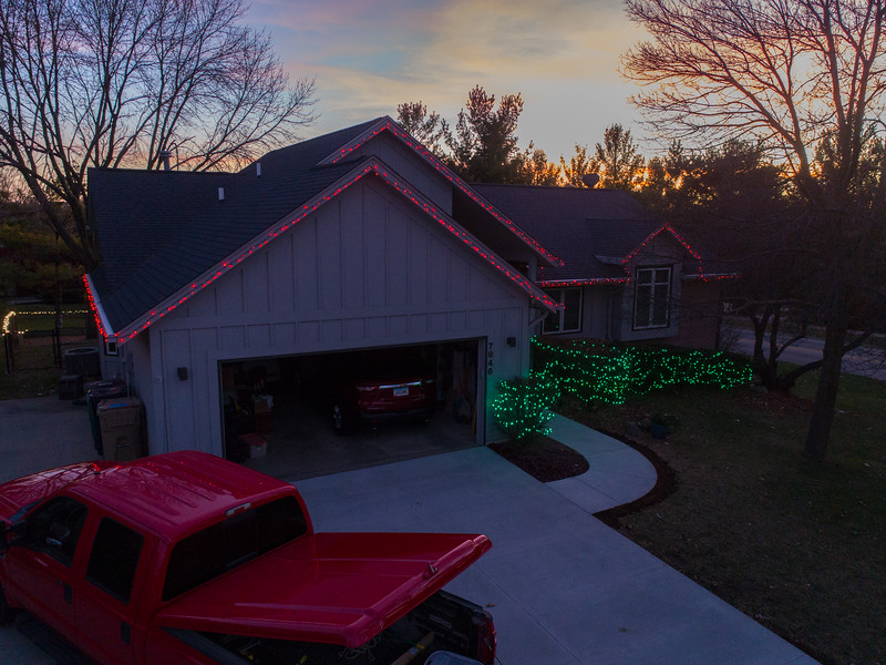 Christmas lights in our front yard