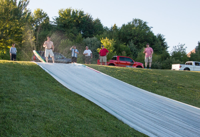 Water slide on the neighbor's hill